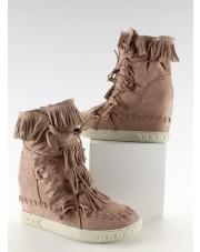 Zamszowe sneakers z frędzlami BL-10 Pink