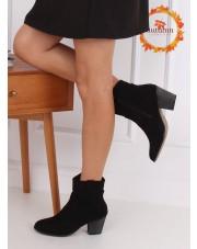 Botki na obcasie kowbojki czarne 100-985B0-2 BLACK