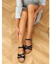 Sandałki na korkowym koturnie czarne H072 NEGRO