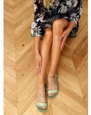Sandałki z cyrkoniami seledynowe 6793 GREEN
