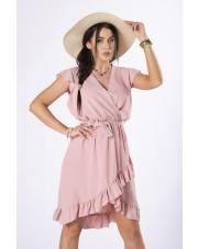Sukienka Mini Z Falbankami Kolor Różowy