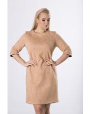 Taliowana Sukienka Z A'La Zamszu Kolor Beżowy
