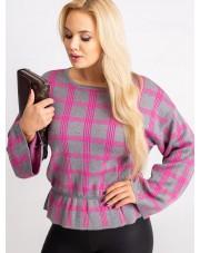 Sweter plus size w kratkę szaro-różowy RUE PARIS
